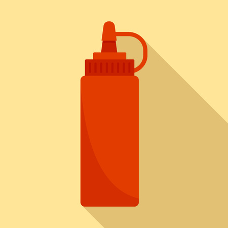 Hot dog ketchup bottle icon, flat style