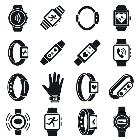Health fitness tracker icon set, simple style