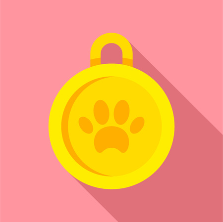 Gold dog medal icon, flat style Archivio Fotografico - 114182073