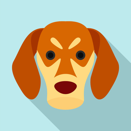 Dog face icon, flat style Stock Photo
