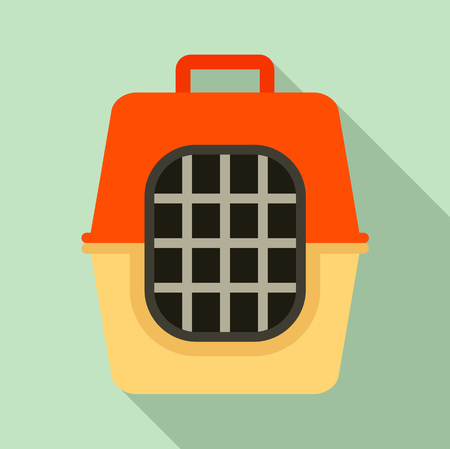 Pet travel cage icon, flat style