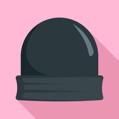 Black beanie icon, flat style