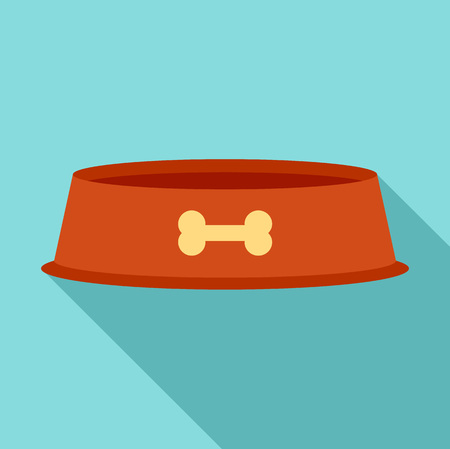 Dog food plate icon, flat style