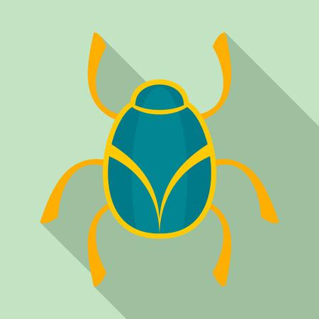 Golden bug icon, flat style Stock Photo