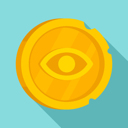 Ancient gold coin icon, flat style