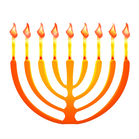 Jewish menorah icon, cartoon style
