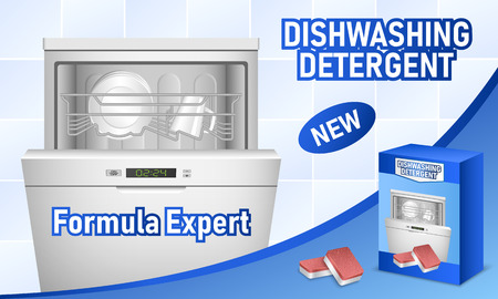 Dishwasher concept background, realistic style