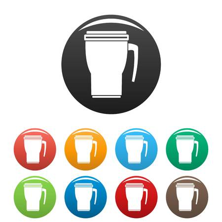Thermo cup icons set color