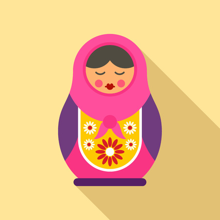 Russian nesting doll icon, flat style