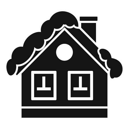Mountain cabin icon, simple style Stock Photo