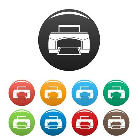 Black paper printer icons set color