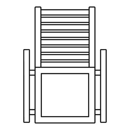 Wood deck chair icon. Outline wood deck chair icon for web design isolated on white background Banque d'images