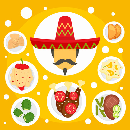 Mexican man food tradition concept background. Flat illustration of mexican man food tradition concept background for web design Stock Photo