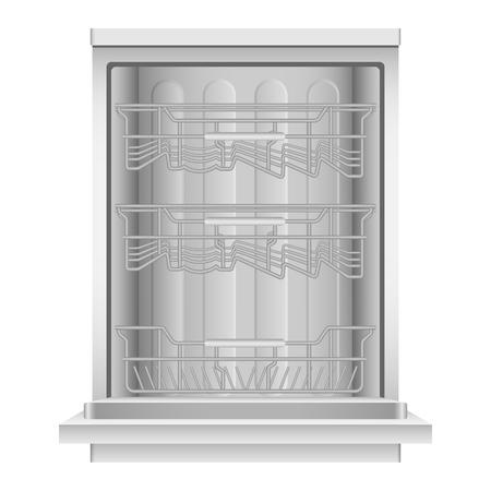 Open dishwasher machine icon. Realistic illustration of open dishwasher machine icon for web design