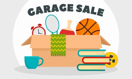 Garage sale concept banner. Flat illustration of garage sale vector concept banner for web design