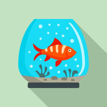 One fish aquarium icon. Flat illustration of one fish aquarium vector icon for web design