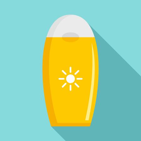 Sun protection bottle icon. Flat illustration of sun protection bottle vector icon for web design Illustration