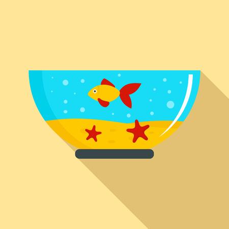 Goldfish in aquarium icon. Flat illustration of goldfish in aquarium vector icon for web design