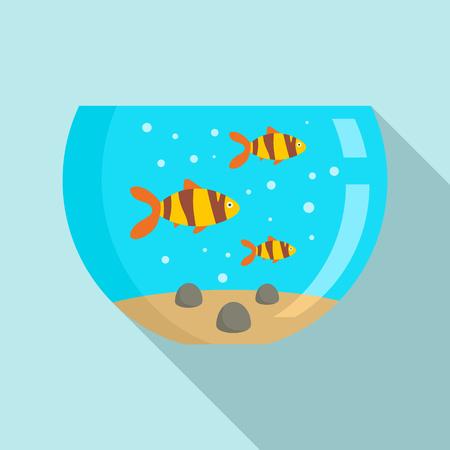 Goldfish aquarium icon, flat style