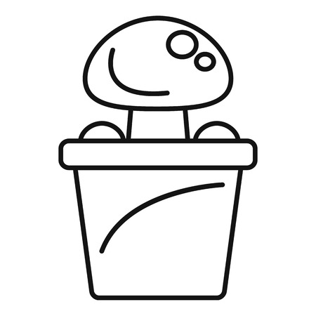 Mushroom pot icon. Outline mushroom pot vector icon for web design isolated on white background  イラスト・ベクター素材