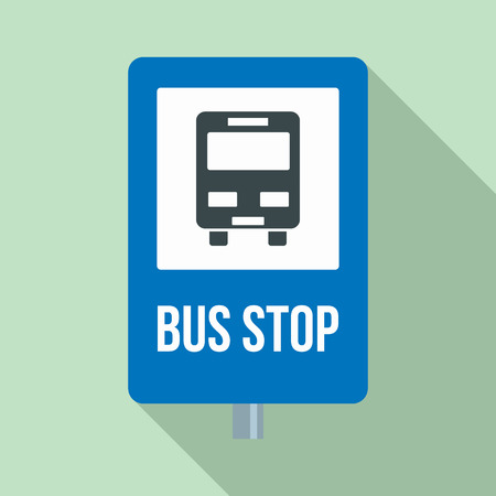 City bus stop sign icon, flat style
