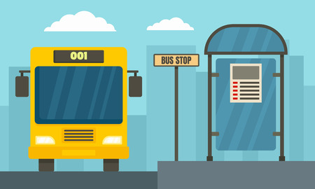 School bus station concept banner. Flat illustration of school bus station vector concept banner for web design Illustration