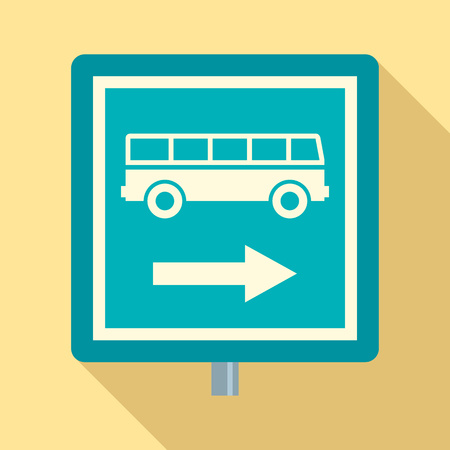 Sign bus stop icon. Flat illustration of sign bus stop vector icon for web design