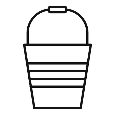 Metal bucket icon. Outline metal bucket vector icon for web design isolated on white background