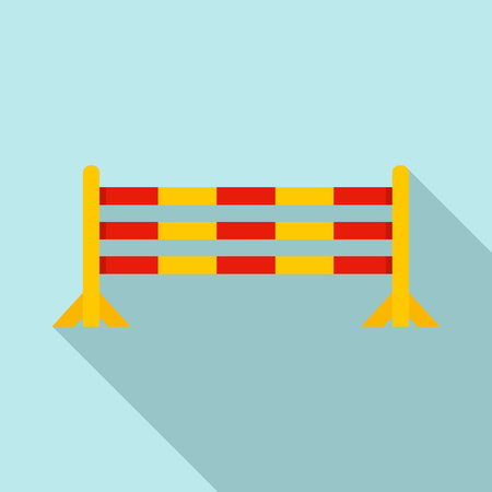 Horse jump obstacle icon, flat style