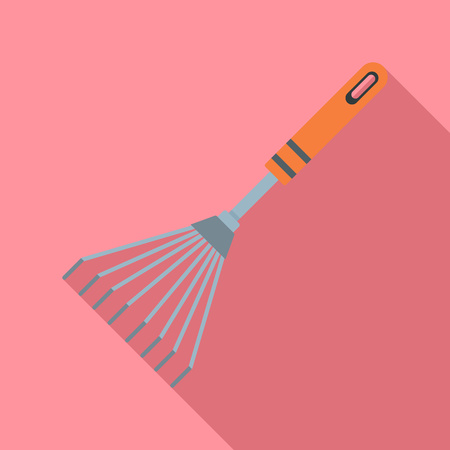 Metal rake icon. Flat illustration of metal rake vector icon for web design Illustration