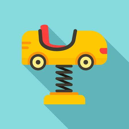 Kid car on spring icon. Flat illustration of kid car on spring vector icon for web design Illustration