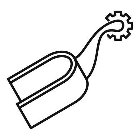 Pferd Sporen Reiten Symbol. Umreißen Sie das Pferdesporn-Reiten-Vektorsymbol für das Webdesign, das auf weißem Hintergrund lokalisiert wird
