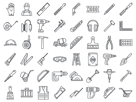 Masonry worker construction icon set, outline style