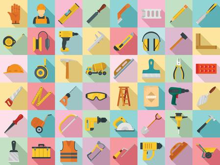 Masonry worker icon set, flat style Stock Photo