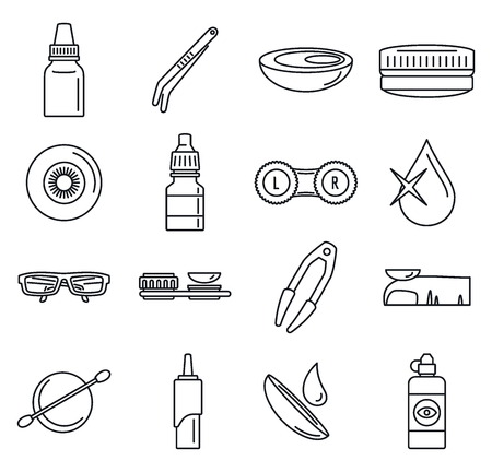Optical contact lens icon set, outline style