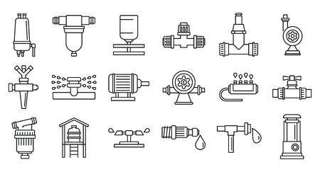 Agricultural irrigation system icon set, outline style