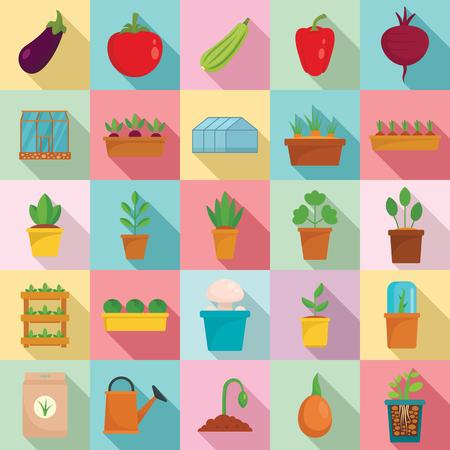 Greenhouse icon set, flat style