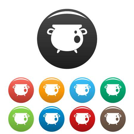Vintage cauldron icons set color Stock fotó
