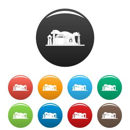 Taipei Taiwan icons set color