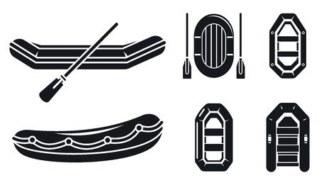 Jeu d'icônes de bateau pneumatique de rivière. Ensemble simple d'icônes vectorielles de bateau gonflable de rivière pour la conception de sites Web sur fond blanc