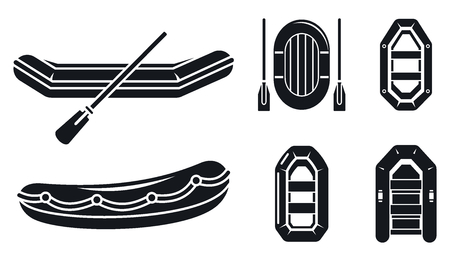 River inflatable boat icon set. Simple set of river inflatable boat vector icons for web design on white background