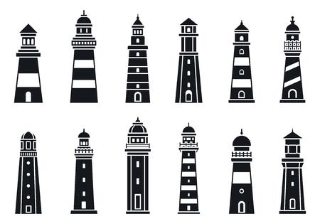 Coast lighthouse icon set, simple style
