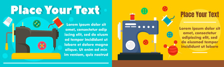 Textile sew machine banner set. Flat illustration of textile sew machine vector banner set for web design Vector Illustration