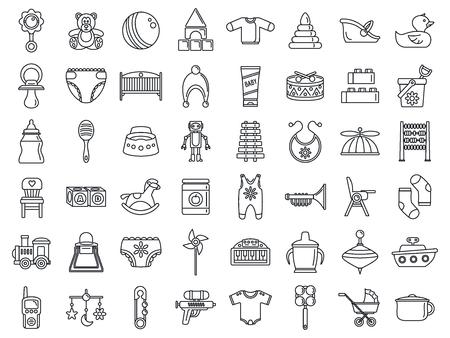 Spielzeug-Babyartikel-Icon-Set. Umreißen Sie einen Satz von Spielzeugbabyartikeln, Vektorsymbolen für das Webdesign, die auf weißem Hintergrund isoliert sind Vektorgrafik