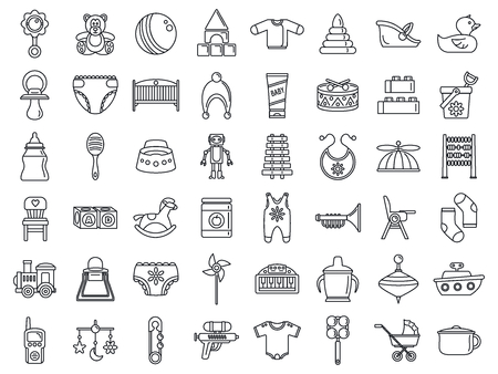 Toy baby items icon set. Outline set of toy baby items vector icons for web design isolated on white background Vektorové ilustrace