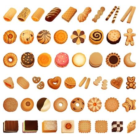 Jeu d'icônes de biscuits. Ensemble de dessins animés d'icônes vectorielles de biscuits pour la conception de sites Web