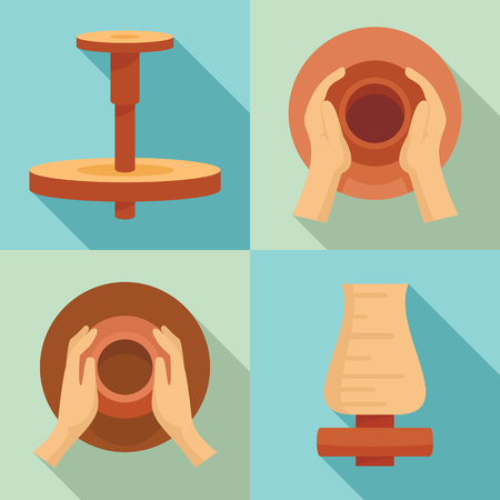 Potters wheel icon set. Flat set of potters wheel vector icons for web design