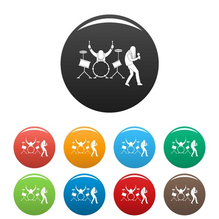 Rock band icons set 9 color vector isolated on white for any design
