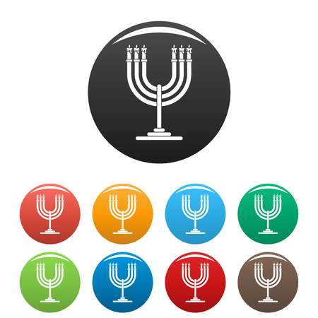 Candles on support icons set color Illustration