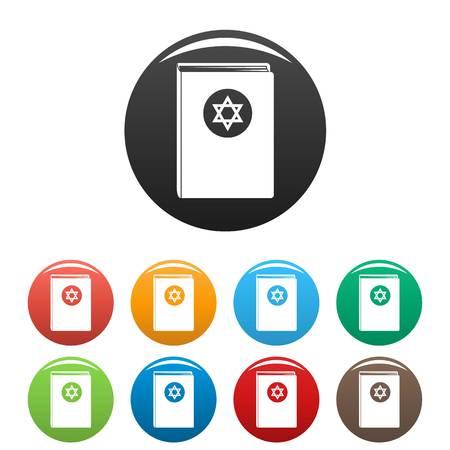 Torah book icons set color